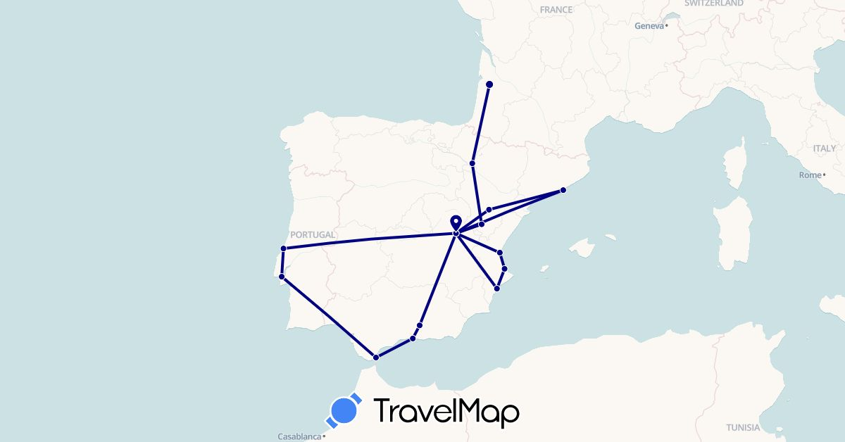 TravelMap itinerary: driving in Spain, France, Gibraltar, Portugal (Europe)